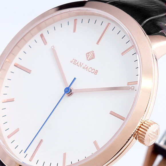 close up view London Classic Rose Gold black strap close up view