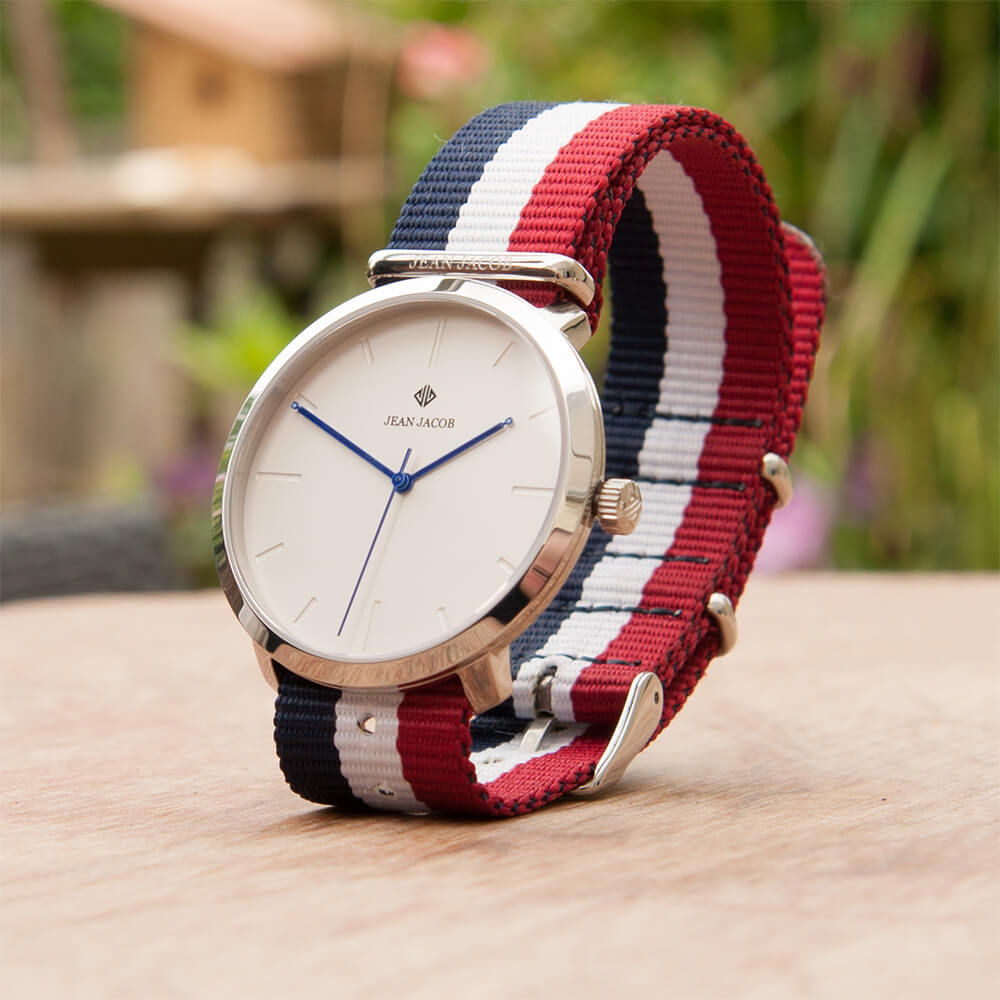 Lifestyle Modern Paris Silver with NATO Blue White Red