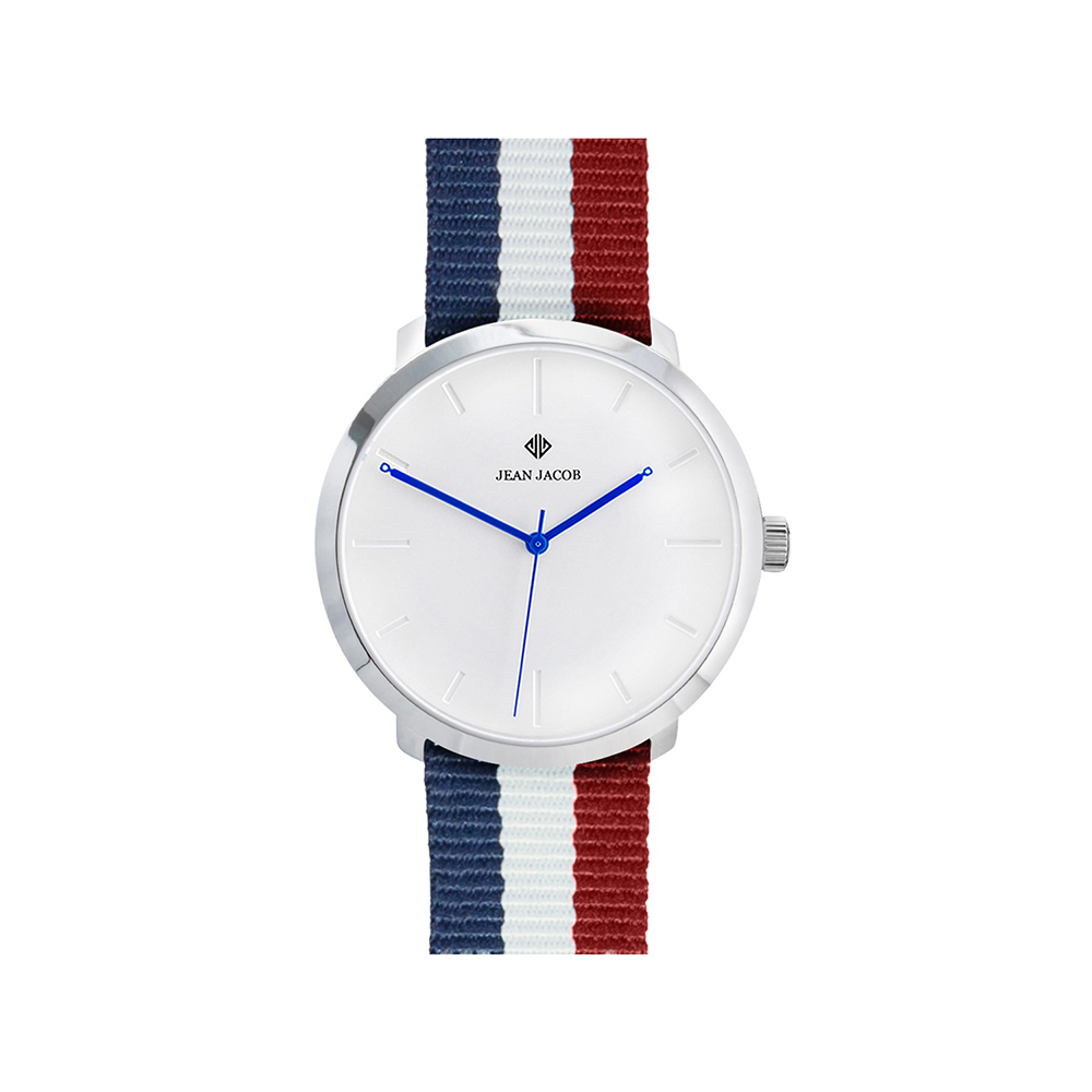 Modern Paris Silver with NATO Blue White Red